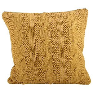 SARO LIFESTYLE 1020 McKenna Collection Saffron Cable Knit Design Down Filled Cotton Throw Pillow, 20""
