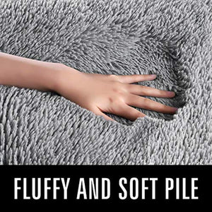 LOCHAS Ultra Soft Indoor Modern Area Rugs Fluffy Living Room Carpets for Children Bedroom Home Decor Nursery Rug 5.3x7.5 Feet, Gray