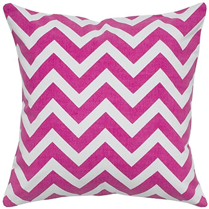 "Rizzy Home T05288 Decorative Pillow, 18""X18"", Pink/White/"