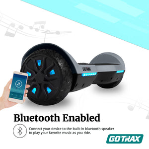 GOTRAX SRX A6 Hoverboard - 65 Hover Board w/Bluetooth Speakers  Self Balancing Mode