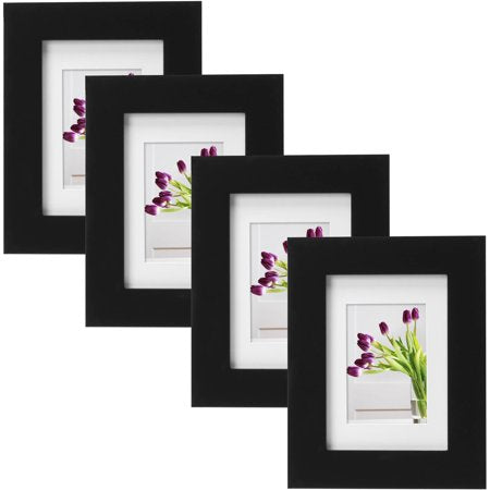 "Mainstays Museum 5"" x 7"" Matted for 3.5"" x 5"" Picture Frame, Black, Set of 4"