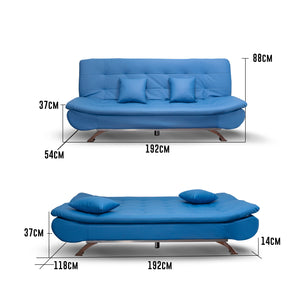 Modern Foldable Luxury Sofa, Convertible in Blue with two mini Pillows