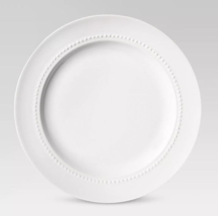 Threshold Round Beaded Rim Porcelain Salad Plate - White