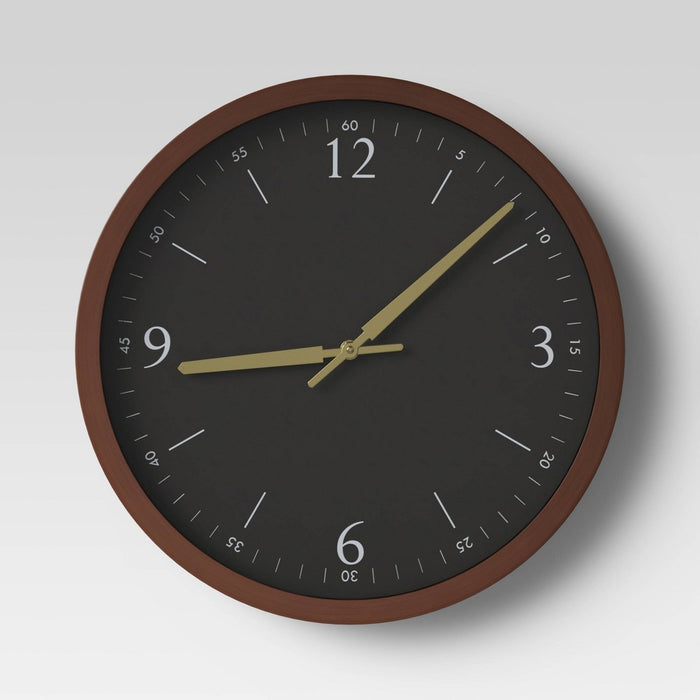 "20"" Walnut Woodgrain Wall Clock Black - Project 62™"
