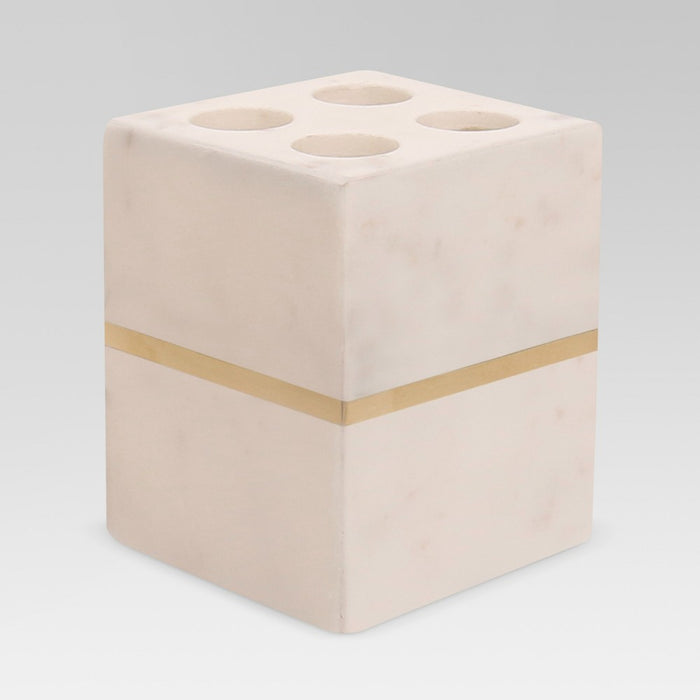 Marble Toothbrush Holder White/Gold - Project 62