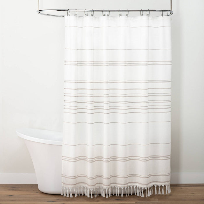 Stitch Stripe Shower Curtain Sour Cream/Taupe - Hearth & Hand with Magnolia