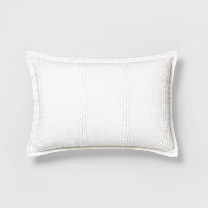"14"" x 20"" Textured Stripe Lumbar Pillow Sour Cream - Hearth & Hand with Magnolia"