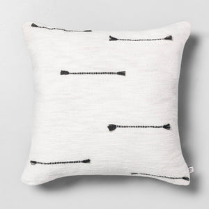 "18"" x 18"" Texture Dash Throw Pillow Railroad Gray / Sour Cream - Hearth & Hand with Magnolia"