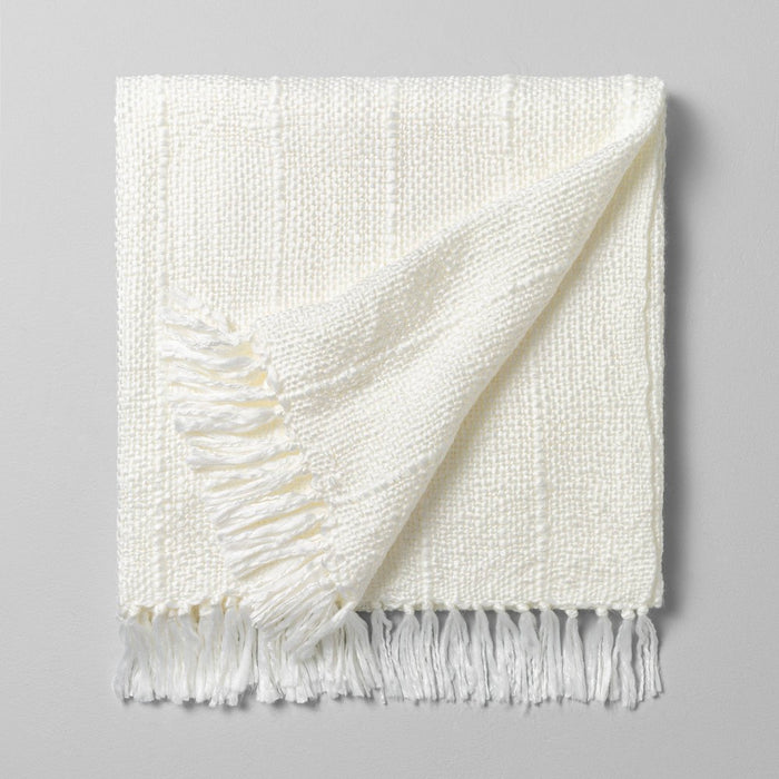 Chunky Stripe Fringe Throw Blanket Cream - Hearth & Hand with Magnolia
