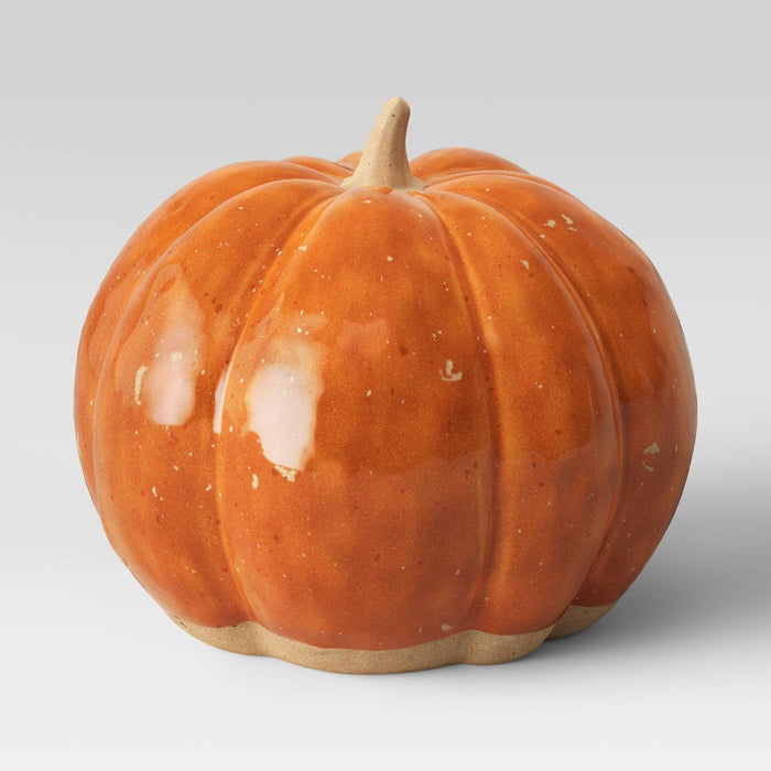 "6.75"" x 8"" Decorative Ceramic Pumpkin Orange - Threshold"