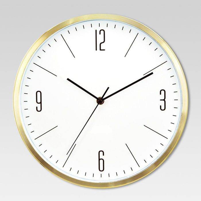 "6"" Round Wall Clock White/Brass - Project 62"