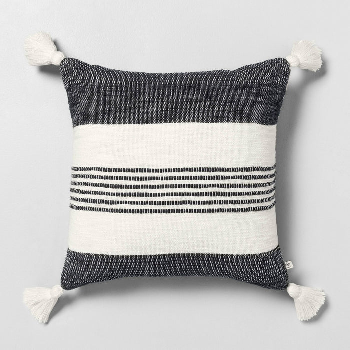 "18"" x 18"" Center Stripes Tassel Throw Pillow Railroad Gray - Hearth & Hand with Magnolia"
