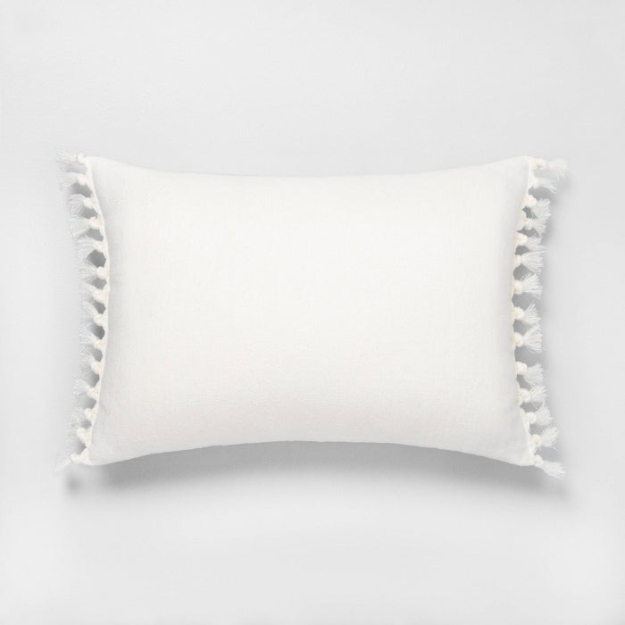 "14"" x 20"" Wide Stripe Knotted Fringe Throw Pillow Sour Cream - Hearth & Hand with Magnolia"