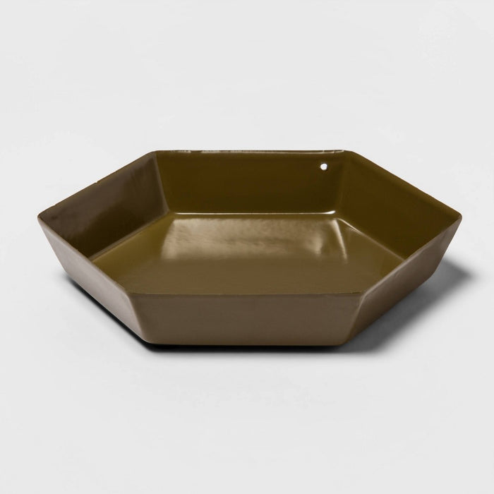 Hexagon Metal Tray Dark Green - Room Essentials