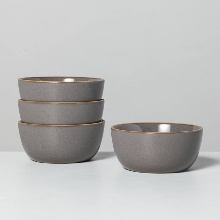 4pk Stoneware Exposed Rim Mini Bowl Set Gray - Hearth & Hand with Magnolia
