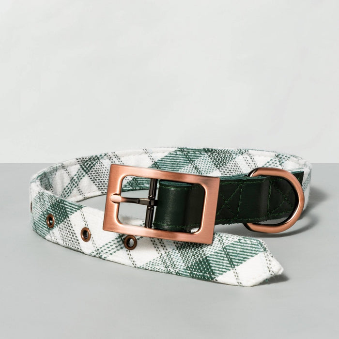Large Plaid with Leather Trim Pet Collar Green - Hearth & Hand with Magnolia