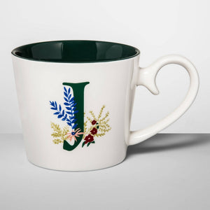 16oz Stoneware Monogram Mug Cream J - Opalhouse
