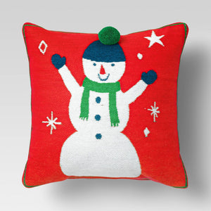 Holiday Woven Chenille Snowman Square Throw Pillow Red - Wondershop