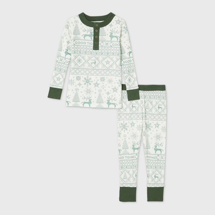 Toddler Holiday 'Good Tidings' 2pc Pajama Set Green - Hearth & Hand with Magnolia 2T