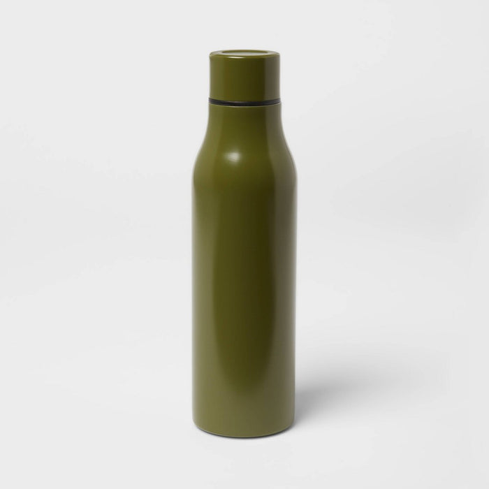 20oz Stainless Steel Vacuum Water Bottle Solid Matte Discover Green - Room Essentials