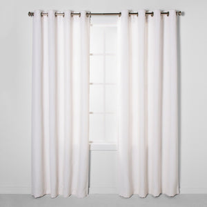 "95""x50"" Luster Basket Light Filtering Weave Curtain Panels Cream - Project 62"