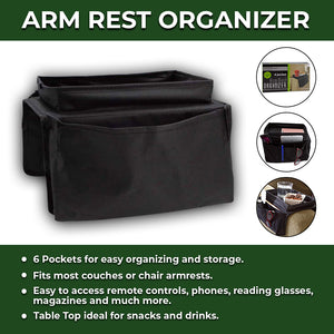 Lemonade Ideas Multi-Pocket Armrest Organizer Bag For Remote Controls, Cell Phones, Reading Glasses great for magazine holder, arm chair organizer and arm chair caddies to work as a couch caddy sofa