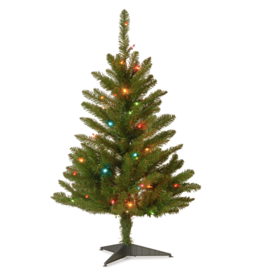 National Tree Company Pre-lit Artificial Mini Christmas Tree | Includes Multi-Color Lights and Stand | Kingswood Fir Slim - 3 ft