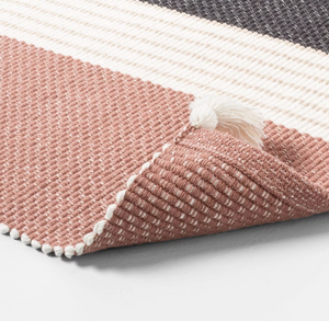 Bath Rug Colorblock Stripes Copper/Sour Cream/Gray - Hearth & Hand with Magnolia