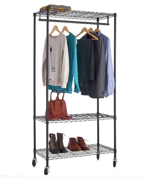 HSS 18Dx48Wx73H, Wire Shelving 3-Shelf Garment Rack with Casters, Black