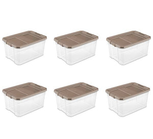 Sterilite 76 Qt. Stacker Box Taupe Splash Set of 6 (please be advised that sets may be missing pieces or otherwise incomplete)