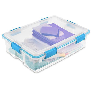 Sterilite 37 Qt. Gasket Box Blue Aquarium Case of 4