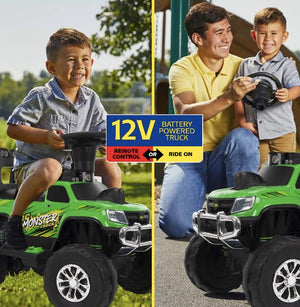 Huffy 12V Battery-Powered Remote-Control Monster Truck, Green, Ride-On Toy