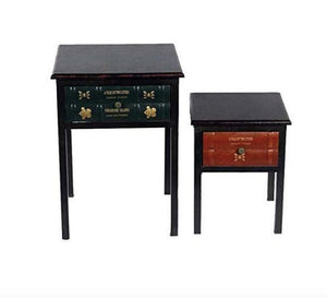 Vogue MB  -117552 Metal Table Set with Drawer, Multi Color - Set of 2