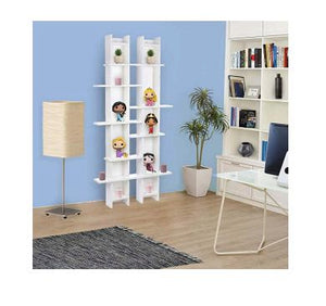 Vogue Asymmetrical Wall Shelf with 13  Shelves, White