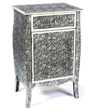 Vogue MB-117518 Cabinet with Drawer, Black & White