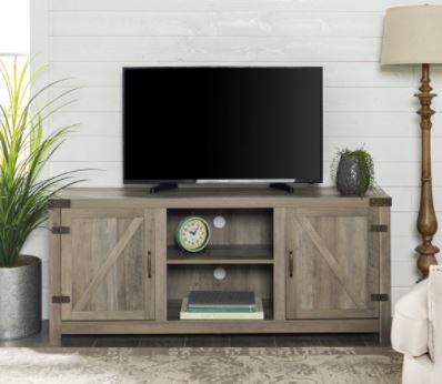 "Manor Park Modern Farmhouse TV Stand for TVs up to 80"", Grey Wash"