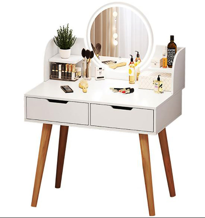 White Vanity Set with Lighted Mirror, Makeup Vanity Dressing Table with Touch Screen Dimming Mirror - Sophisticated and Beautiful Appearance, Perfect for your Home or Office.