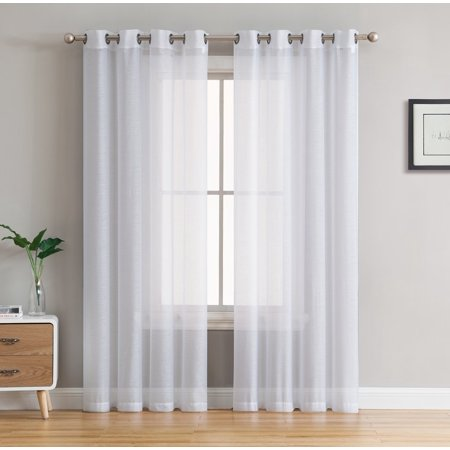 HLC.ME 2 Piece Semi Sheer Voile Window Curtain Drapes Grommet Top Panels for Bedroom, Living Room & Kids Room - Set of 2 panels