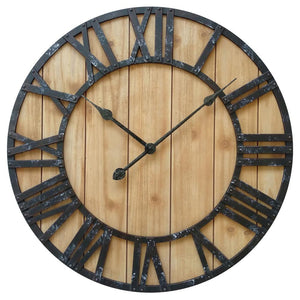 "Westclox 38067- 16"" MDF Brown Wall Clock with Raised Roman Numerals"