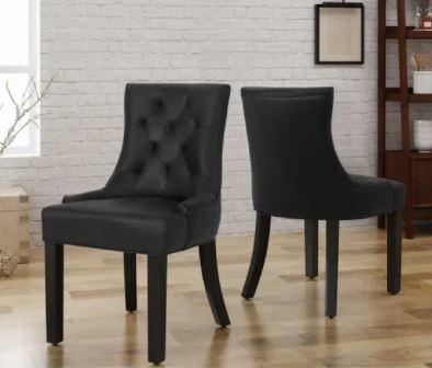 Hayden Tufted Black Dining Chair Set (Set of 2) by Christopher Knight Home