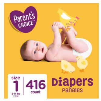 Parent's Choice Diapers, Size 1, 416 Diapers (Mega Box)