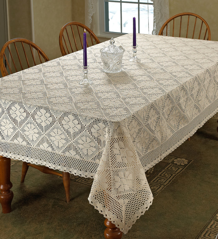 stars crochet vintage lace design tablecloth
