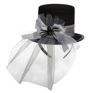 Woman Silver Spider Top Hat One Size Halloween Dress Up / Costume Accessory