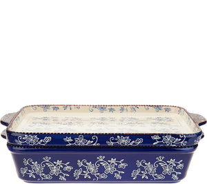"Temp-tations Floral Lace 13"" x 9"" Baker with Lid-its & Tote"