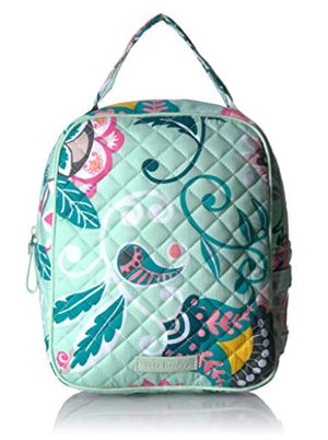 Vera Bradley Women's Signature Cotton Lunch Bunch Lunch Bag, Mint Flowers, One Size