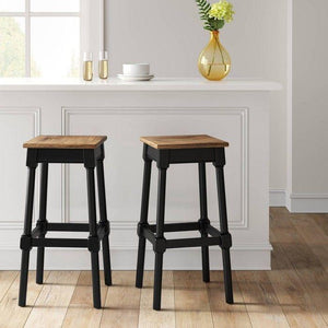 Salem Farmhouse Square Counter Height Barstool Black - Threshold™