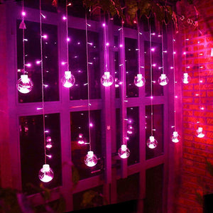 Purple LED  Curtain string lights in Ball Shape