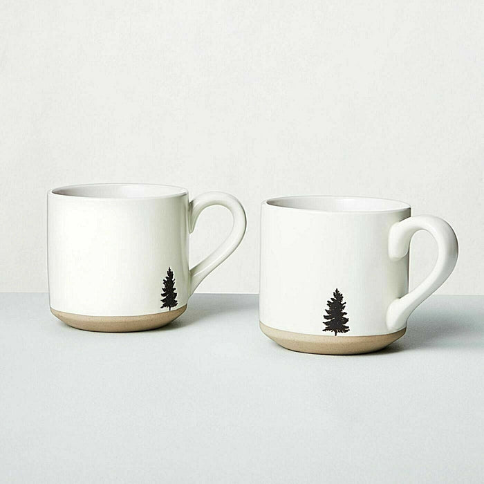 Hearth Hand Magnolia Stoneware Mug 2pc Set Embossed Black Tree Coffee White 16oz