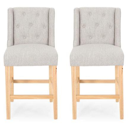 Landria Button Tufted Fabric Wingback Counterstool (Set of 2) by Christopher Knight Home - Light Gray + Natural