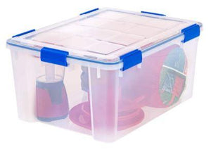 IRIS USA 60 QT Weathertight Gasket Storage Box with Buckles, Clear/Blue, 1 Pack (please be advised that sets may be missing pieces or otherwise incomplete)